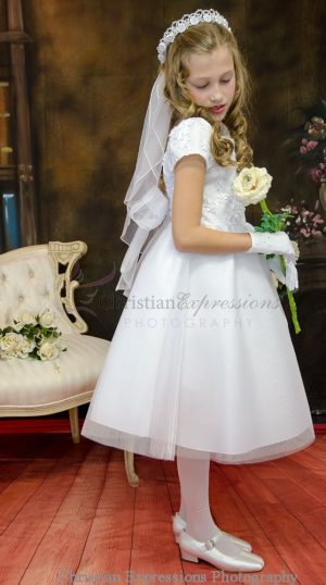 Pretty First Communion Dress with Embroidered Bodice