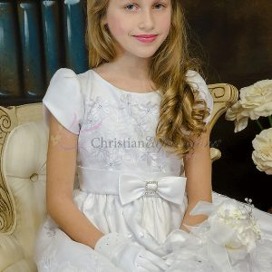 Pretty Satin Short Sleeves First Communion Dress with Daisies