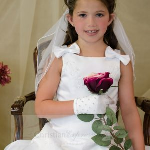 Satin A Line First Communion Dress with Bows