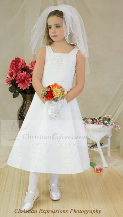 Satin A-line First Communion Dress with Pearl Beading