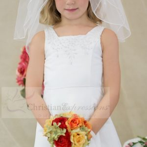 Satin A-line First Communion Dress with Pearl Beading Tea Length