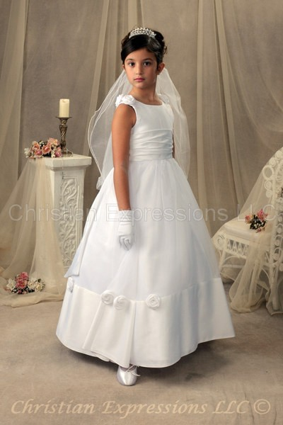 Satin 1st Communion Gown with Roses