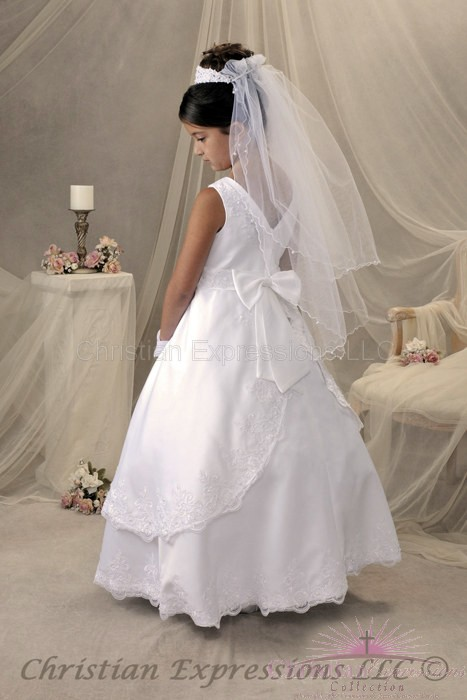 Satin First communion dresses pearls