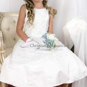 Satin Irish Shamrocks First Communion Dress