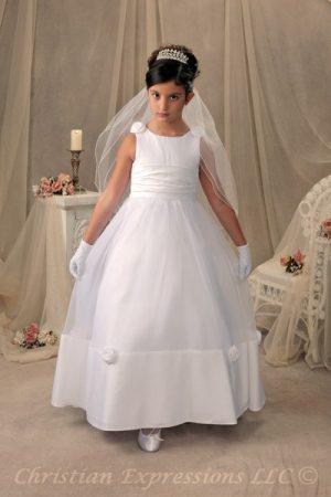 Satin Long Length Girls First Holy Communion Gown