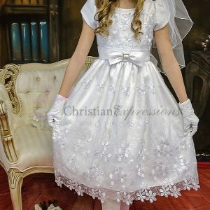 Satin Short Sleeves First Communion Dress Daisies and Bow