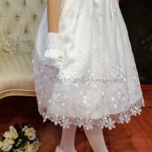 First Communion Dresses with Daisies Satin & Organza