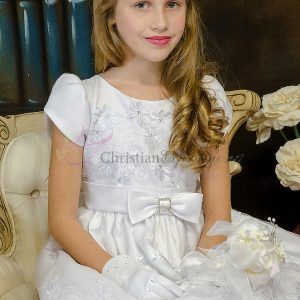 Satin Short Sleeves First Holy Communion Dress with Daisies