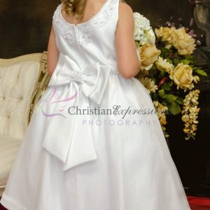 Satin Tulle Beaded First Communion Dress Plus Size