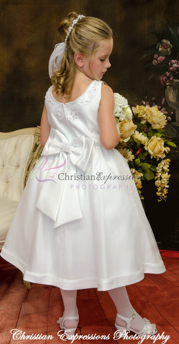 Satin Tulle Beaded First Communion Dress Plus Size Communion