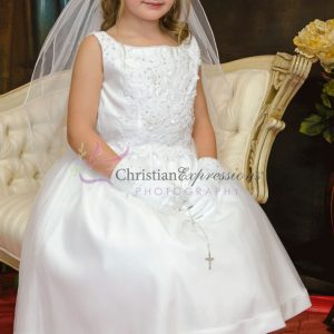 Satin Tulle Beaded First Communion Dress Size 10