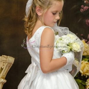 Satin Tulle Beaded First Communion Dress Size 6