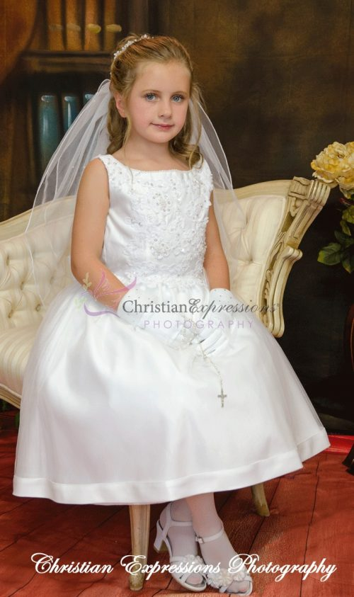 Satin Tulle Beaded First Communion Dress Size 7