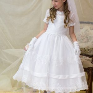 Satin and Lace Banding First Communion Dress