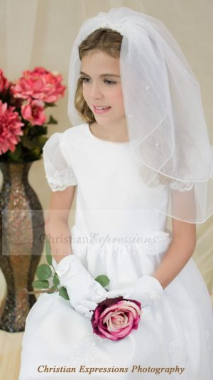 Satin and Organza first communion dress with sheer sleeves beaded appliques