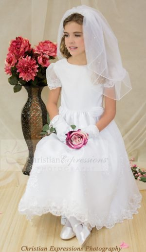 Satin and Organza first holy communion dress with sheer sleeves beaded appliques