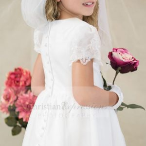 Satin and Organza white first holy communion dress with sheer sleeves beaded appliques