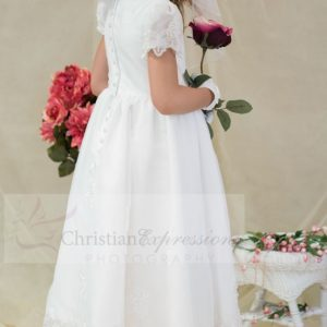 Satin and Organza white first holy communion dress with sheer sleeves beaded appliques tea length