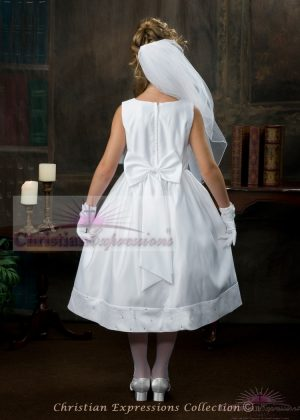 Satin first communion dress with rhinestone accents and satin Bow