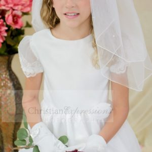 Satin first communion dress with sheer sleeves with appliques