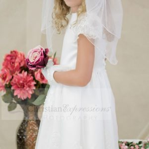 Satin first communion dress with sheer sleeves with appliques size 10