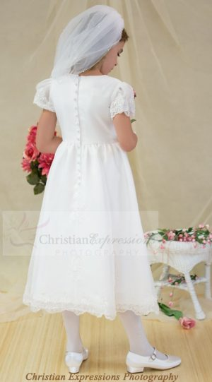 Satin first communion dress with sheer sleeves with appliques size 6