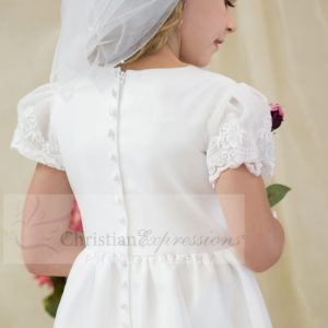 Satin first communion dress with sheer sleeves with appliques size 7