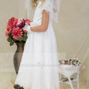Satin first communion dress with sheer sleeves with appliques size 8