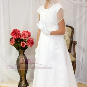 Satin first communion dresses Cap Sleeves