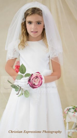 Satin organza overlay first communion dress with sheer sleeves with appliques