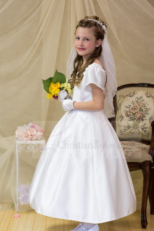 Satin with Pleated Skirt First Communion Dress