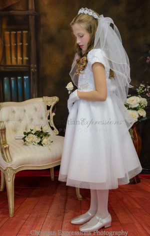 Short Sleeve First Communion Dress with Embroidered Bodice