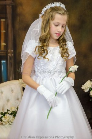 Short Sleeve Girls First Communion Dress with Embroidered Bodice