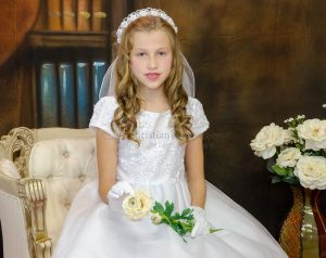 Short Sleeve Tea Length First Communion Dress with Embroidered Bodice