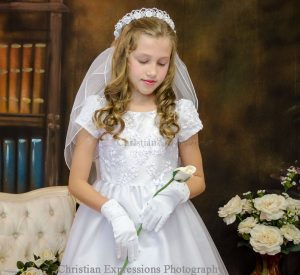 Short Sleeve Tulle First Communion Dress with Embroidered Bodice