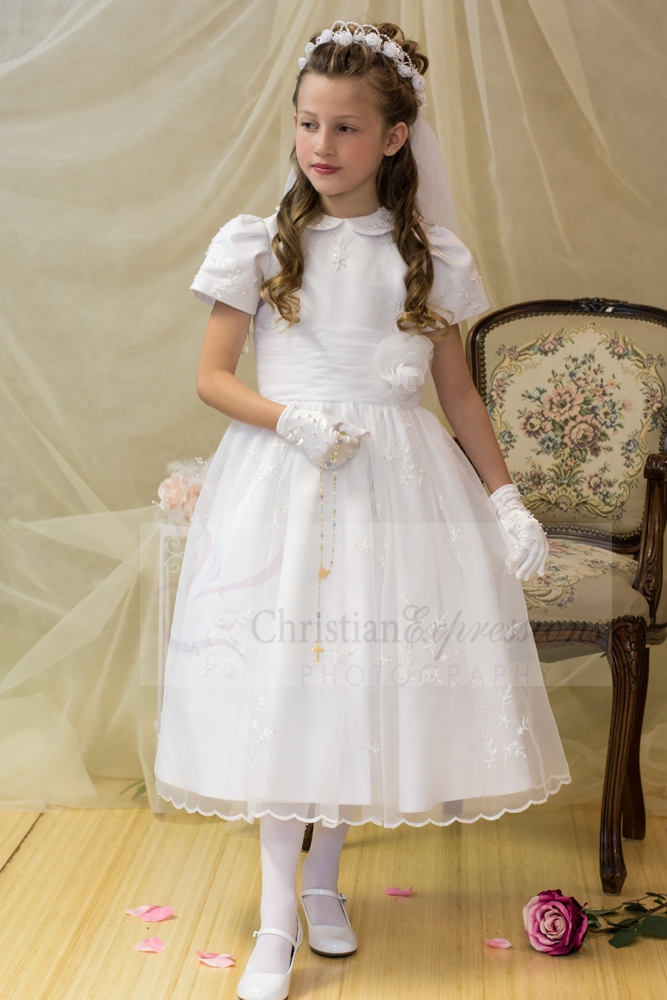 Embroidered First Communion Dress with Peter Pan Collar