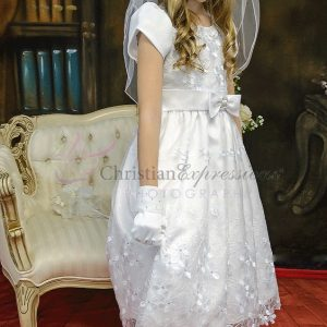 Short Sleeves First Holy Communion Dresses with Daisies