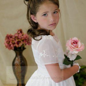 Short Sleeves Organza White First Communion Dress Long Length