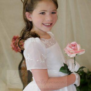 Short Sleeves Organza White First Communion Dress Sze 10