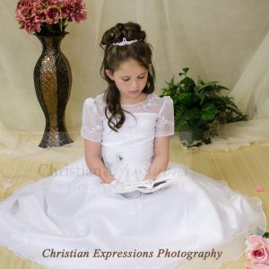 Short Sleeves Organza White First Communion Dress Size 6