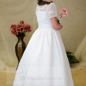 Short Sleeves Organza White First Communion Dress Size 7