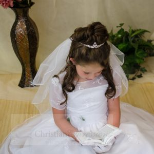 Short Sleeves Organza White First Communion Dress Sze 8