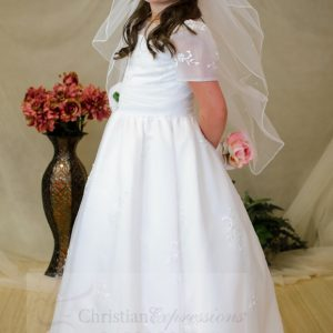 Short Sleeves Organza White First Communion Dress Tea Length