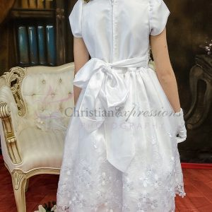 Short Sleeves Satin First Communion Dress with Daisies