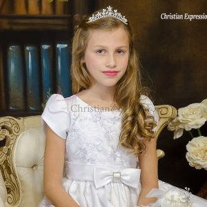 Short Sleeves White First Communion Dress with Daisies