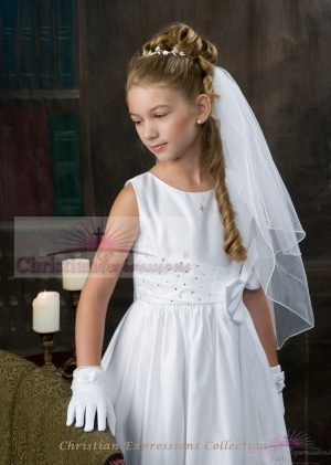 Sleeveless Satin first communion dress with rhinestone accents and satin Bow