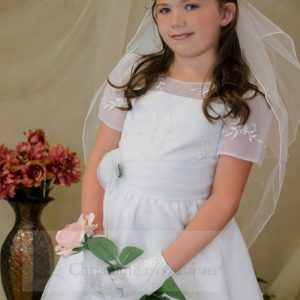 Stylish Short Sleeves Organza White First Communion Dress Sze 6
