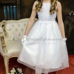 Stylish White Crochet First Communion Dresses