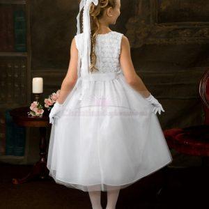 Swirl Floral Bodice First Communion Dress Back