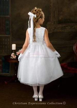 Swirl Floral Bodice First Communion Dress Back